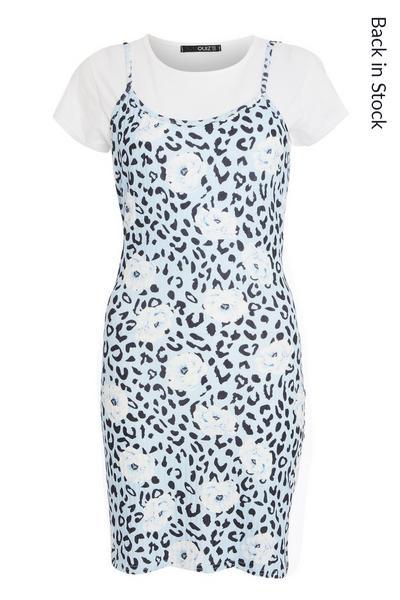 Blue Animal Print Bodycon Dress
